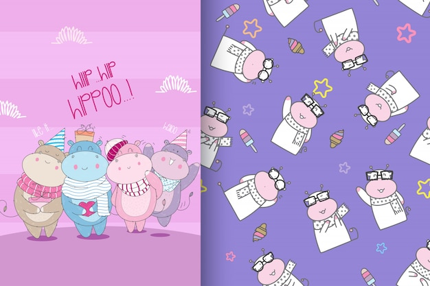 Hand drawn cute hippo with pattern set-vector Premium Vector