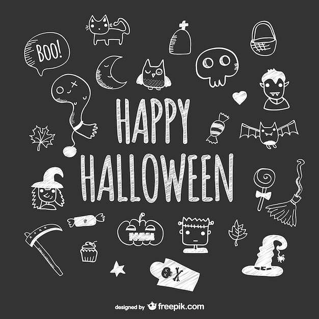 Hand drawn cute icons of halloween on blackboard Free Vector