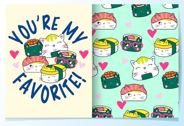 Hand drawn cute japanese sushi pattern set Premium Vector