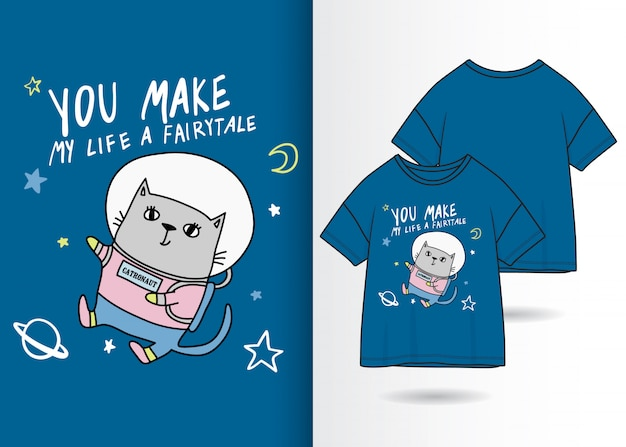Hand drawn cute kitty illustration with t shirt design Premium Vector