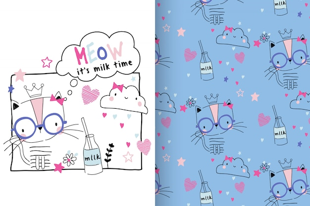 Hand drawn cute kitty with pattern set Premium Vector