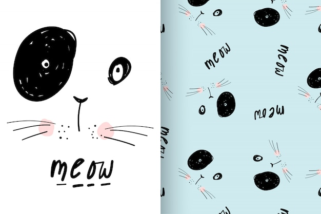 Hand drawn cute kitty with pattern vector set Premium Vector