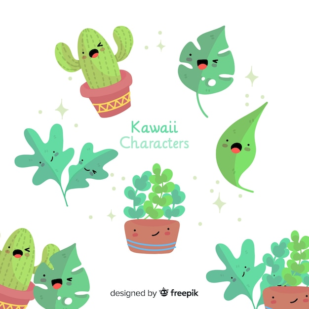 Hand drawn cute leaves collection Free Vector