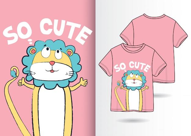 Hand drawn cute lion illustration with t shirt design Premium Vector