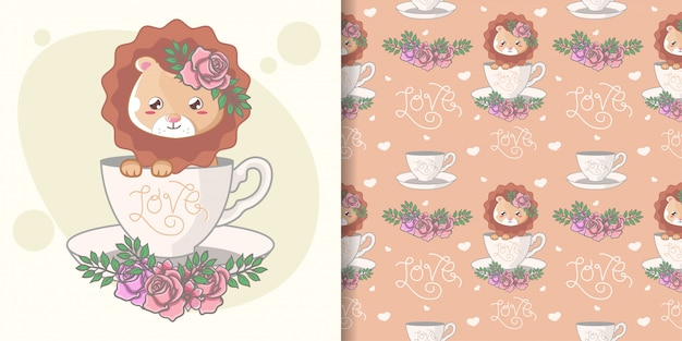 Hand drawn cute lion seamless pattern and illustration card Premium Vector