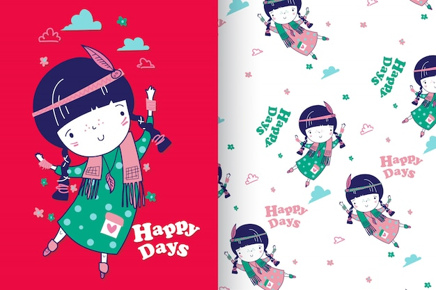 Hand drawn cute little girl with pattern set Premium Vector