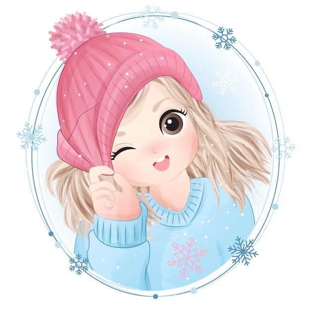 Нарисованная рукой милая маленькая девочка с акварельной иллюстрацией Premium векторы