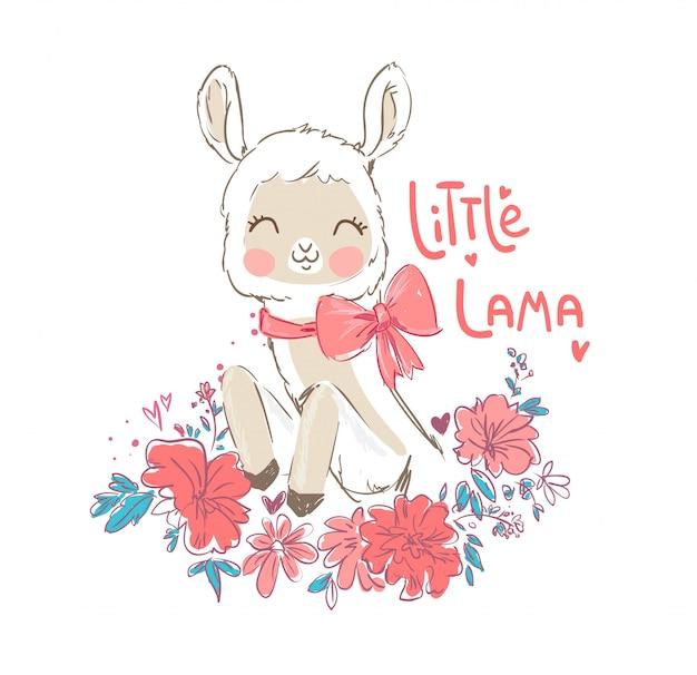 Hand drawn cute llama and flowers. Premium Vector