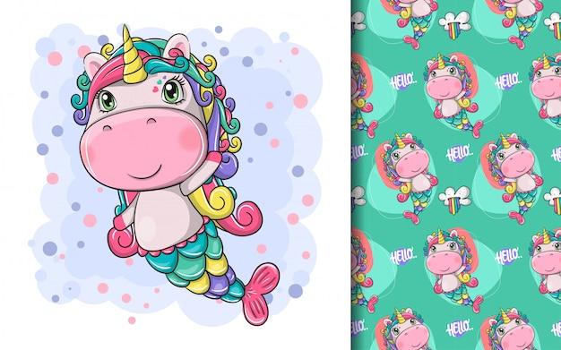 Hand drawn cute magical unicorn and pattern set Premium Vector