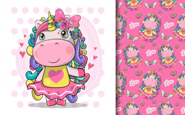 Hand drawn cute magical unicorn and pattern set Premium Vector