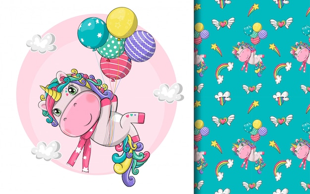 Hand drawn cute magical unicorn with balloons and pattern set Premium Vector