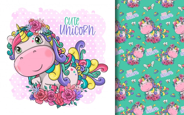 Hand drawn cute magical unicorn with flowers and pattern set Premium Vector