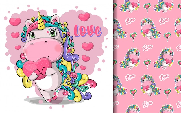 Hand drawn cute magical unicorn with heart and pattern set Premium Vector
