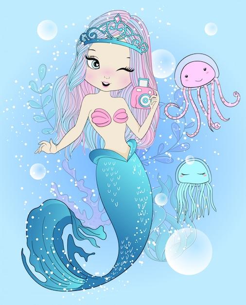 Hand drawn cute mermaid with jellyfish Premium Vector