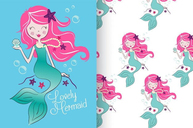 Hand drawn cute mermaid with pattern set Premium Vector