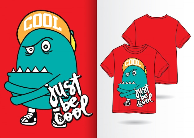 Hand drawn cute monster illustration with t shirt design Premium Vector