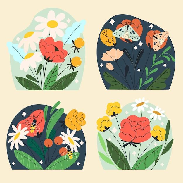 Collezione natura carina disegnata a mano Vettore gratuito