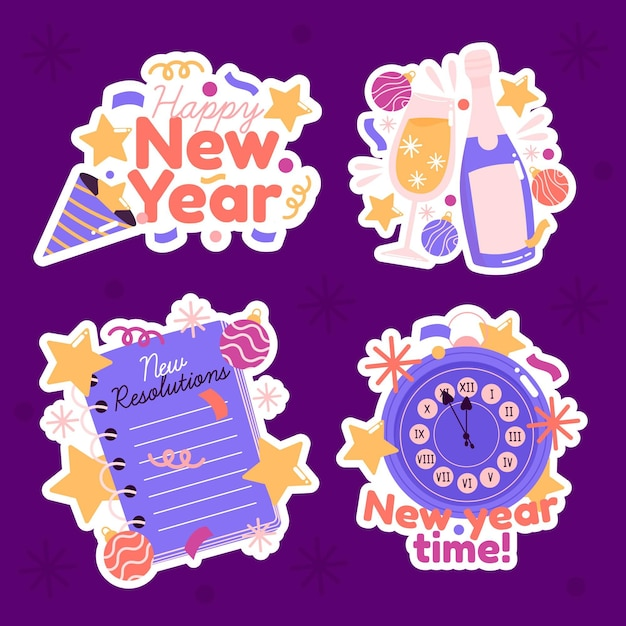 Hand drawn cute new year collection Free Vector