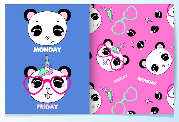 Hand drawn cute panda pattern set Premium Vector