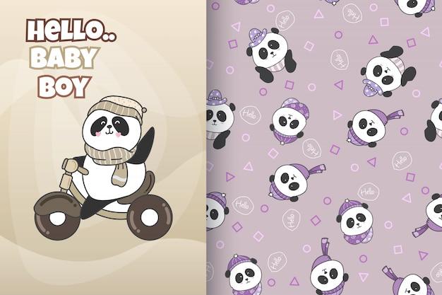 Hand drawn cute panda with pattern vector set Premium Vector