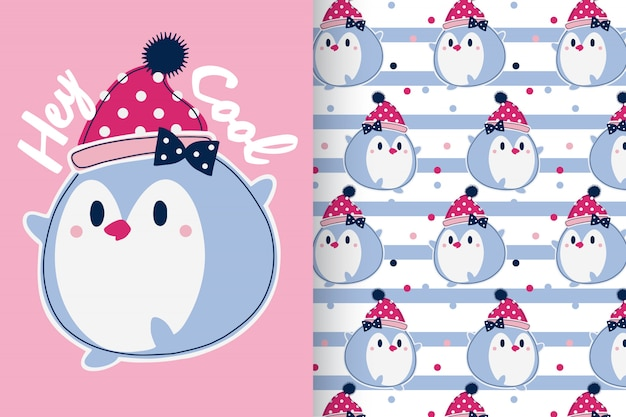 Hand drawn cute penguin with pattern set Premium Vector
