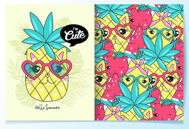Hand drawn cute pineapple pattern set Premium Vector
