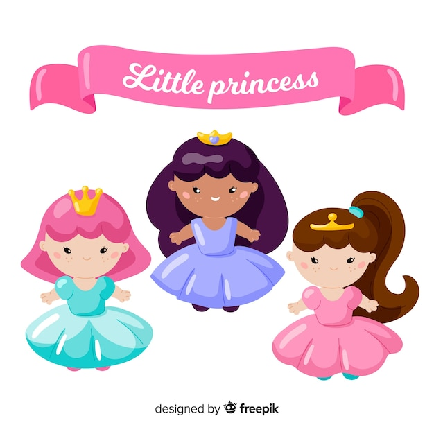 Hand drawn cute princess collection Free Vector