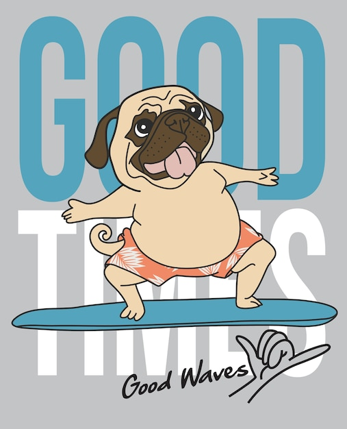Hand drawn cute pug surfing Premium Vector