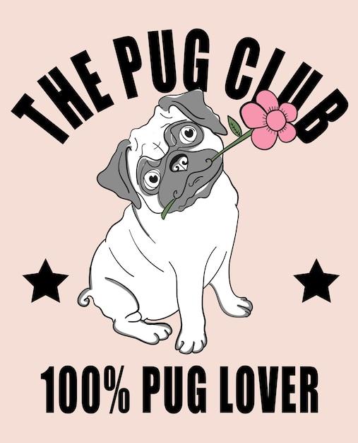 Hand drawn cute pug vector design for t shirt printing Premium Vector