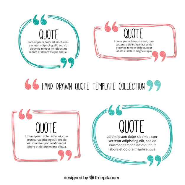 Hand drawn cute quote frames  Free Vector
