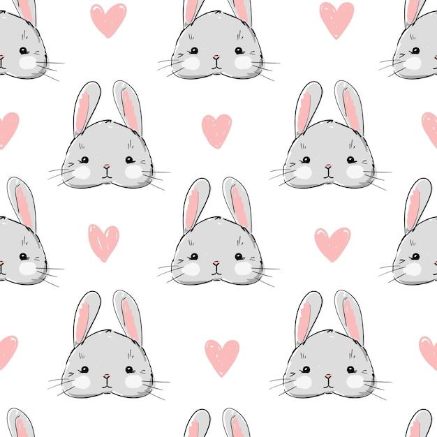 Hand drawn cute rabbit pattern seamless. Premium Vector