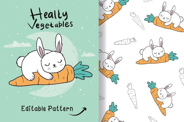 Hand drawn a cute rabbit with editable pattern Premium Vector