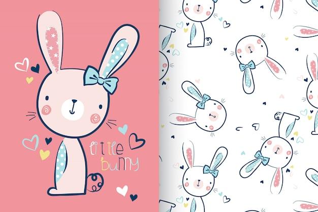 Hand drawn cute rabbit with pattern set Premium Vector