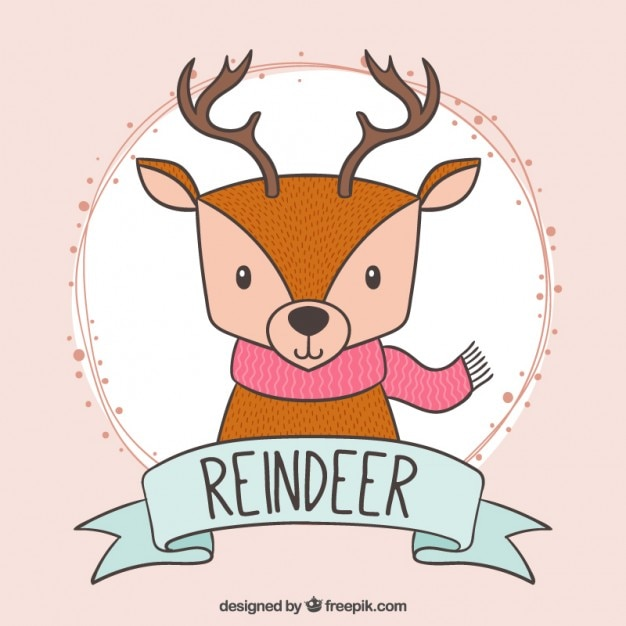 Hand drawn cute reindeer with a pink scarf Free Vector