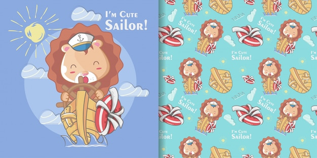 Hand drawn cute sailor lion seamless pattern and illustration card Premium Vector