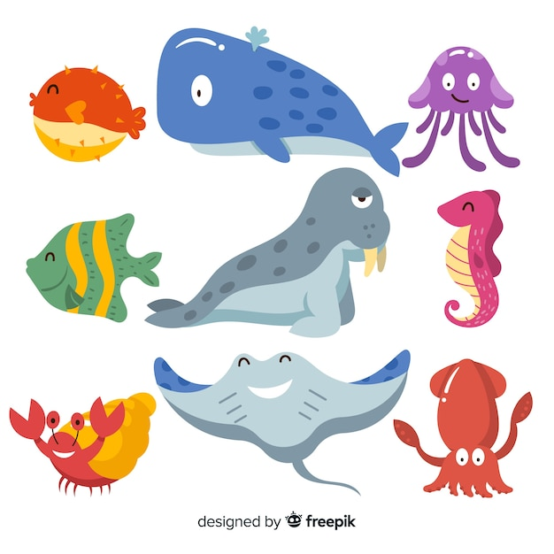 Hand drawn cute sea animals collection Free Vector