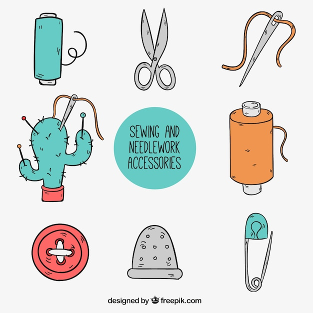 Hand drawn cute sewing accessories Free Vector