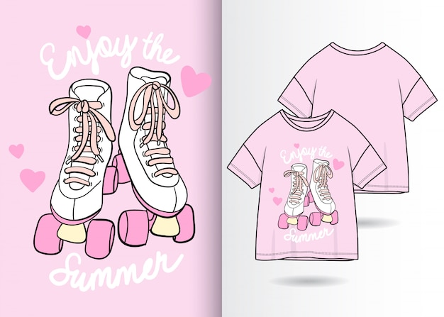 Hand drawn cute shoes illustration with t shirt design Premium Vector