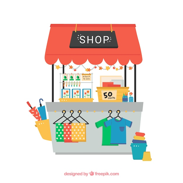 Hand drawn cute shop Premium Vector