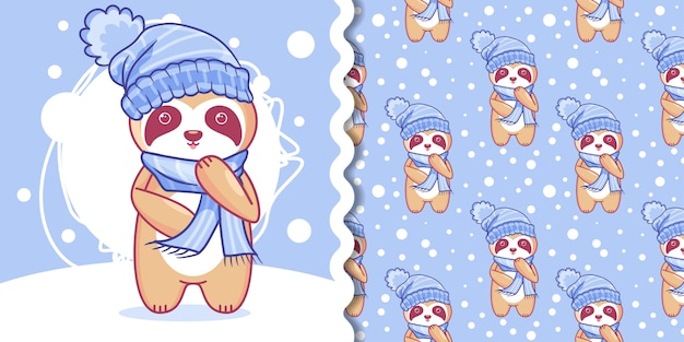 Hand drawn cute sloth in winter with pattern set Premium Vector