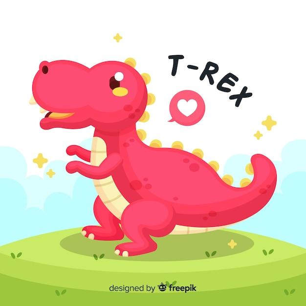 Нарисованная рукой милая иллюстрация t-rex Premium векторы