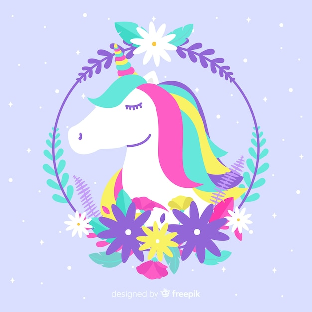 Hand drawn cute unicorn background Free Vector