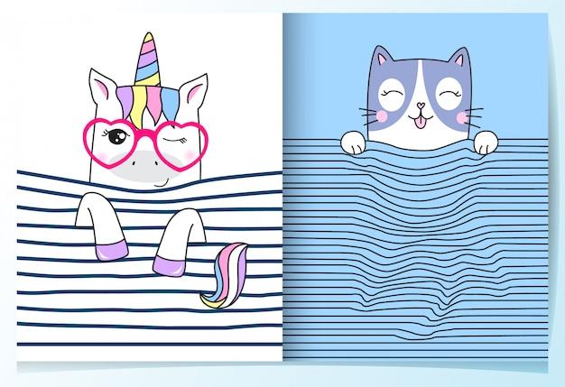 Hand drawn cute unicorn & cat set Premium Vector