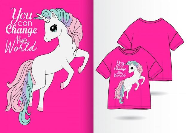 Hand drawn cute unicorn illustration with t shirt design Premium Vector