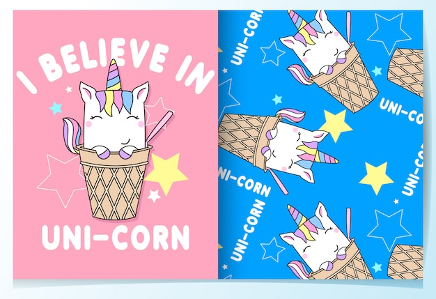 Hand drawn cute unicorn pattern set Premium Vector
