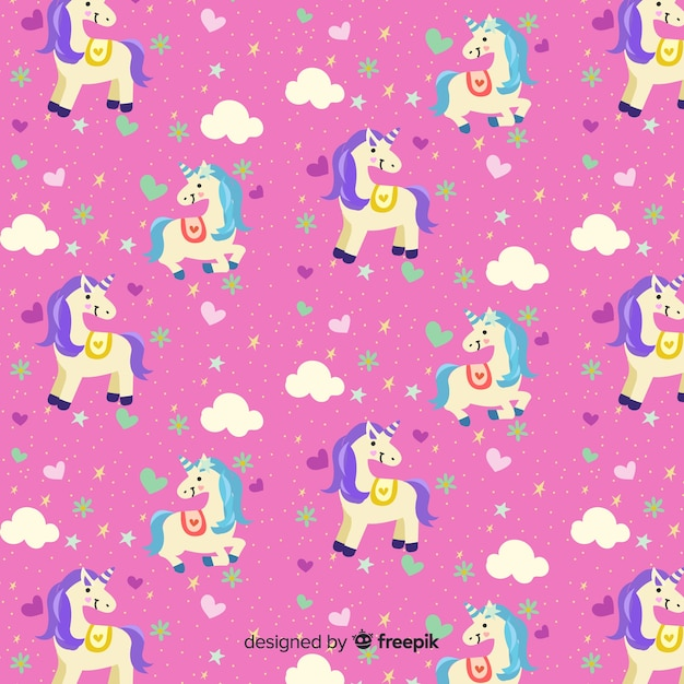 Hand drawn cute unicorn pattern Free Vector