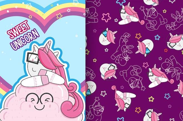 Hand drawn cute unicorn with pattern vector set-vector Premium Vector