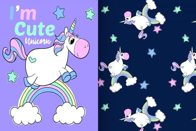 Hand drawn cute unicorn with pattern vector set Premium Vector