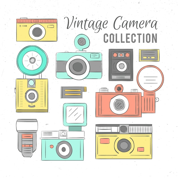 Hand drawn cute vintage cameras