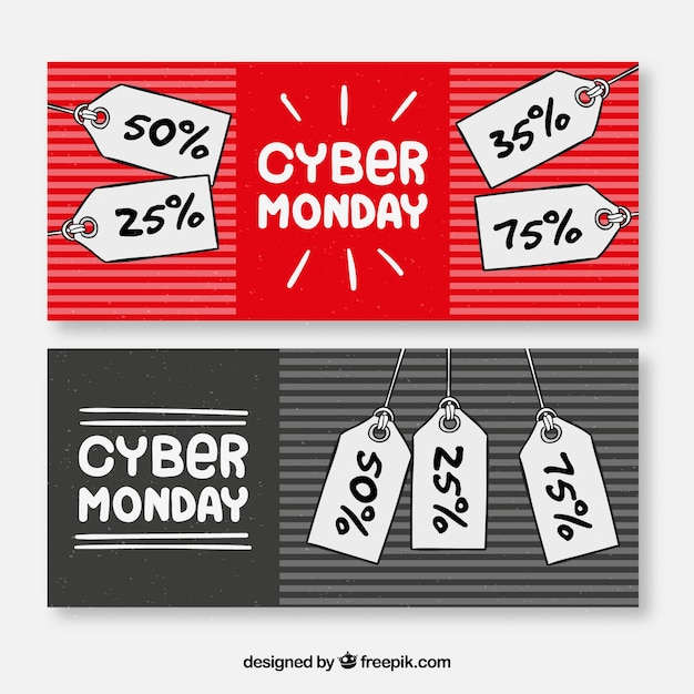 Hand drawn cyber monday banners with price tags